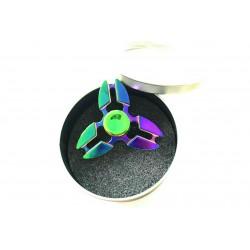 3-arms metal spinner i rund æske - Multi Metallic