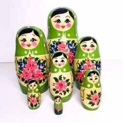 7 stk. Babushka dukker - Grøn