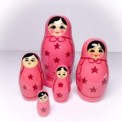 5 stk. Babushka dukker - Lyserøde stjerner