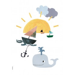 Sunny at Sea - Happy Animals - Plakat A3 - I Love My Type