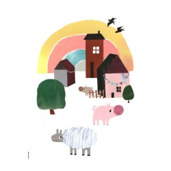 Cosy Village Life -  Happy Animals - Plakat A3 - I Love My Type