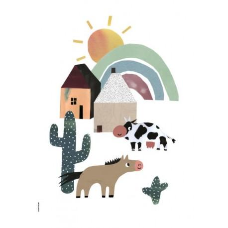 Western Happiness - Happy Animals - Art Print A5 - I Love My Type