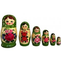 6 stk. Babushka dukker - Grøn