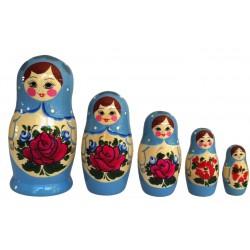 5 stk. Babushka dukker - Babyblå
