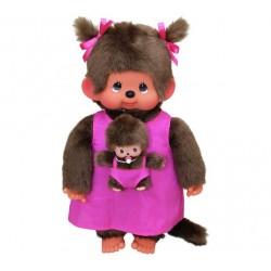 Stor pink mor med baby - Monchhichi bamse - 45 cm.