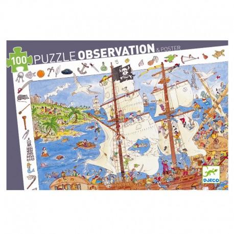 Sørøverskib - Observations puslespil 100 brikker - Djeco