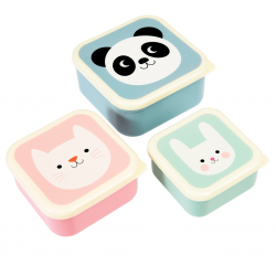 Panda, kat & kanin Snack boxes - 3 stk. - Rex London