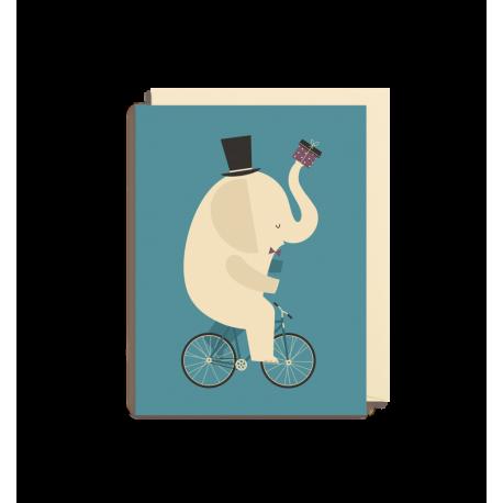 Elefant på cykel kort - Lille - Dawid Ryski