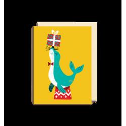 Sæl med gave - Lille kort & kuvert - Lagom