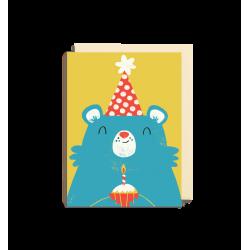 Fødselsdagsbjørn - Lille kort & kuvert - Lagom