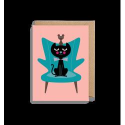 Kat, mus & bamsestolen - Lille kort & kuvert - Lagom