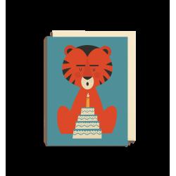 Tiger med lagkage - Lille kort & kuvert - Lagom