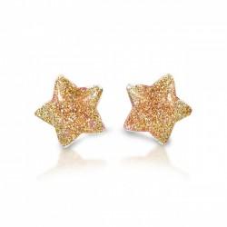 Stjerne øreringe med clips - Guld med glimmer - Milk & Soda
