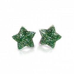 Stjerne øreringe med clips - Grøn med glimmer - Milk & Soda