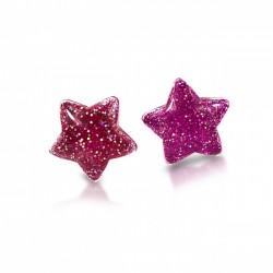Stjerne øreringe med clips - Pink med glimmer - Milk & Soda