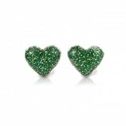 Hjerte øreringe med clips - Grøn med glimmer - Milk & Soda