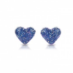 Hjerte øreringe med clips - Blå med glimmer - Milk & Soda