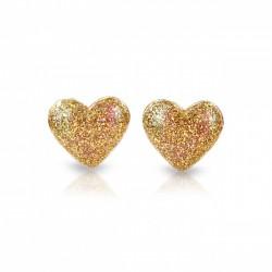 Hjerte øreringe med clips - Guld med glimmer - Milk & Soda