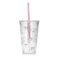 Enhjørning glas med glimmer og sugerør - npw London