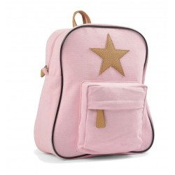 Smallstuff kanvas rygsæk - Lyserød med læderstjerne