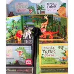Jungledyr med bagrund - 6 dyr i æske - Tiger Tribe