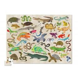 Reptiler og krybdyr - Puslespil i rør - 100 brikker - Crocodile Creek