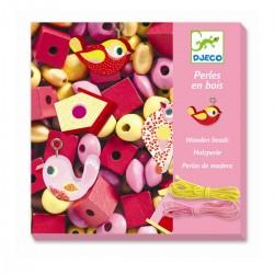 450 lyserøde træperler - Fugle - Djeco