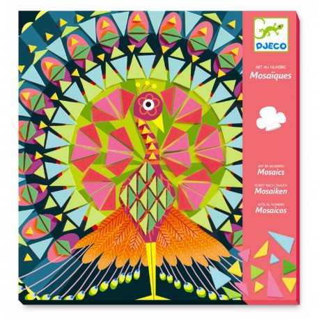 Påfugl & ugle mosaik - Kreativ æske - Djeco