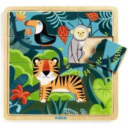 Junglen - Træpuslespil i ramme - Djeco