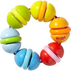 Regnbuefarvet rangle med kugler og ringe - HABA