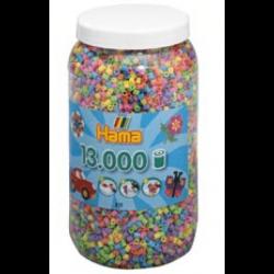 Pastel perler i bøtte - 13000 stk. midi perler - Hama