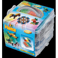Lille opbevaringsboks med 6000 perler + plader - Hama