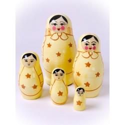 Stor cremefarvet dukke - Original Babushka fra Rusland