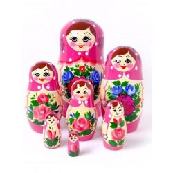 7 stk. Babushka dukker - Pink
