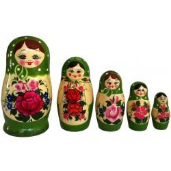 5 stk. Babushka dukker - Grøn