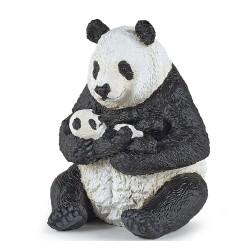 Siddende panda med baby - Figur - Papo