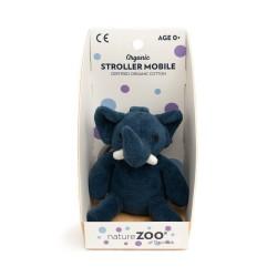 Blå elefant barnevognsophæng - Økologisk velour - NatureZOO