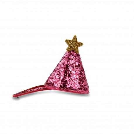 Mini festhat med pink glimmer - Hårspænde - Milk & Soda