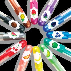 12 Yummy Yummy Gel Pens med glimmer & frugtduft - Ooly