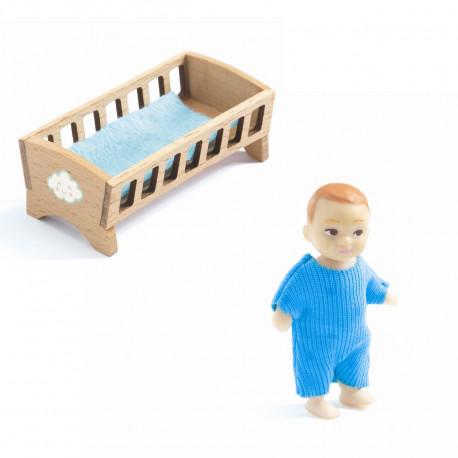Baby med seng - Petit Home dukke - Djeco