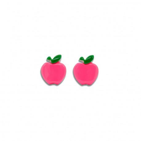 Pink æbler - Øreringe med clips - Milk + Soda