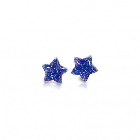 Stjerne øreringe med clips - Blå med glimmer - Milk x Soda