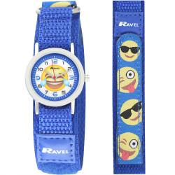 Emoji børneur - Blå - Velcro rem