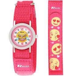 Emoji børneur - Pink - Velcro rem