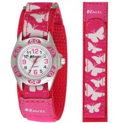 Pink sommerfugle børneur - Velcro rem