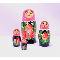 4 stk. Babushka dukker - Rosa & sort