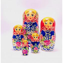 5 stk. Babushka dukker - Blomster & guld