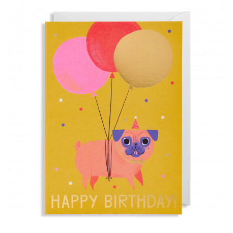 Happy Birthday Pug - Kort & kuvert - Lagom