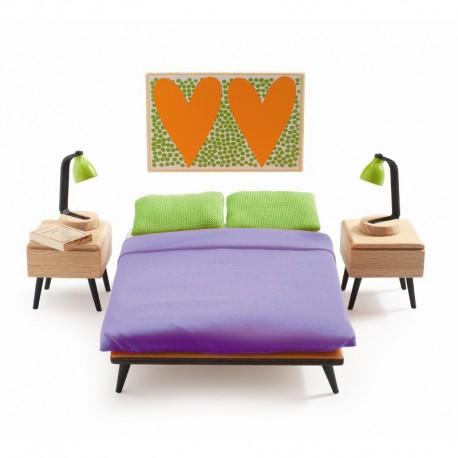 Forældre soveværelse - Petit Home dukkehusmøbler - Djeco