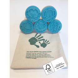 Vilde dyr - 5 stempler i stofpose - Ailefo